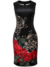 Load image into Gallery viewer, Round Neck Graceful Floral Printed Bodycon Dress