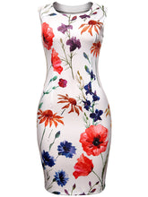 Load image into Gallery viewer, Round Neck  Slit  Floral Printed Chic Bodycon Dress
