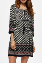 Load image into Gallery viewer, Round Neck  Drawstring  Printed  Three Quarter Sleeve Casual Dresses