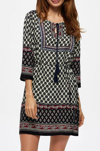 Round Neck  Drawstring  Printed  Three Quarter Sleeve Casual Dresses