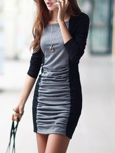 Sexy Color Block Ruched Mini Bodycon Dress