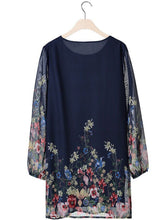 Load image into Gallery viewer, Casual Floral Printed Hollow Out Chiffon Shift Dress