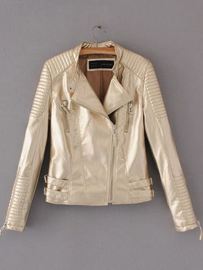 Sparkling Lapel Plain PU Leather Zips Biker Jacket