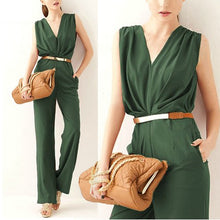 Load image into Gallery viewer, Elegant OL Deep V Sleeveless Jumpsuit