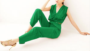 Elegant OL Deep V Sleeveless Jumpsuit