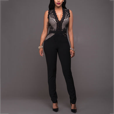Sexy V-Neck Lace Splicing Sleeveless Jumpsuit