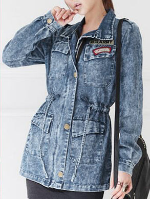Lapel Denim Drawstring Flap Pocket Acid Wash Jacket