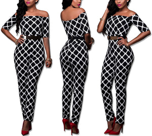 Sexy Slim Printed Jumpsuit With Belt