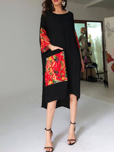 Load image into Gallery viewer, Round Neck  Patch Pocket Patchwork  Printed  Cotton/Linen Maxi Dress