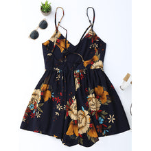 Load image into Gallery viewer, Vacation Beach Cross Halter V Collar Navy Blue Flowers Jumpsuit