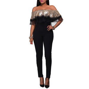 Sexy Flounced Sequin Lace Stitching Jumpsuit