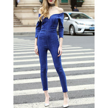 Load image into Gallery viewer, Off-Shoulder Sexy V Collar Denim Jumpsuit