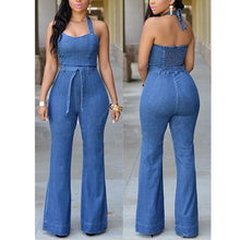 Load image into Gallery viewer, Slim Casual Fashion Denim Jumpsuit With Belt