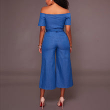 Load image into Gallery viewer, Denim Short-Sleeved Sexy Strapless Collar Jumpsuit With Belt