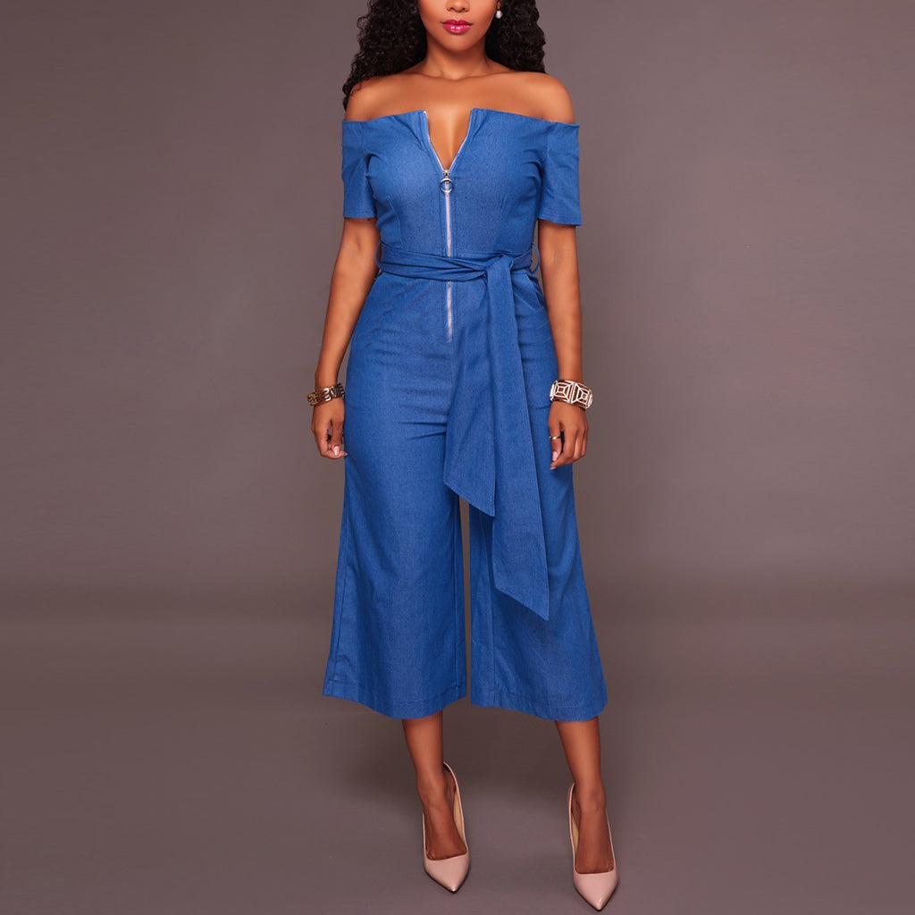 Denim Short-Sleeved Sexy Strapless Collar Jumpsuit With Belt