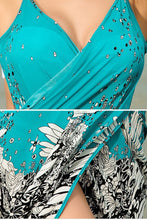 Load image into Gallery viewer, V Neck  Asymmetric Hem  Back Hole  Printed Casual Dresses