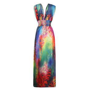 V-Neck Fashion Peacock Feather Print Dress With Plus Size