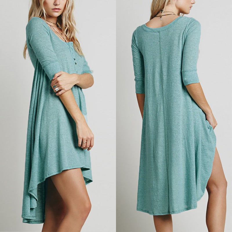 Stylish Irregular Hem Casual Shift Dress