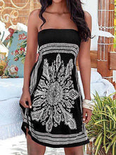 Load image into Gallery viewer, Strapless Smocked Bodice Tribal Printed Skater Dress