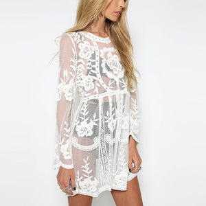 Bohemia Sexy Lace Embroidery Perspective Speaker Sleeve Dress