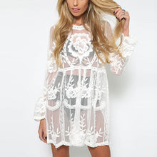 Load image into Gallery viewer, Bohemia Sexy Lace Embroidery Perspective Speaker Sleeve Dress
