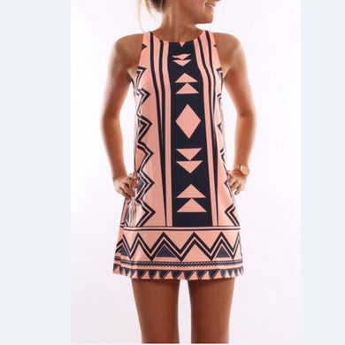 Bohemian Round Colla Sleeveless Dress