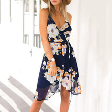 Load image into Gallery viewer, Summer Dress Flower Sleeveless Strap Dress