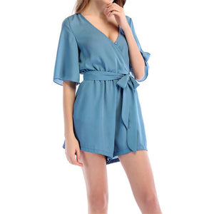 Loose Pure Color V Collar Half Sleeve Jumpsuit