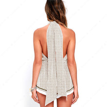 Load image into Gallery viewer, Summer New Printing Chidori Plaid Long Straps Jumpsuit