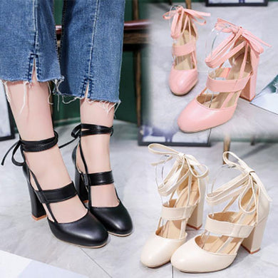 Elegant Pure Color Cross Strap Thick Heel Sandals