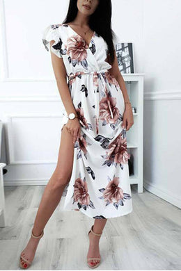 Sexy Floral Print Short Sleeves Maxi Dress