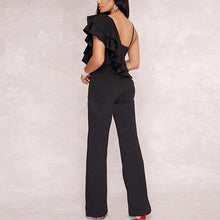 Load image into Gallery viewer, Strap Sexy V Collar Sleeveless Lotus Leaf Slim Jumpsuit
