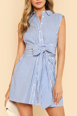 Elegant Sleeveless Stripe Mini Dress