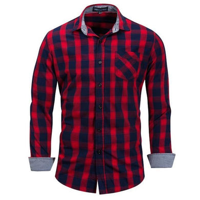 Fashion Youth Casual Slim Plaid Long Sleeve Button Shirt Top