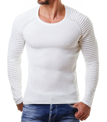Basic Ribbed Striped Sleeve Sweater 4 Colors
