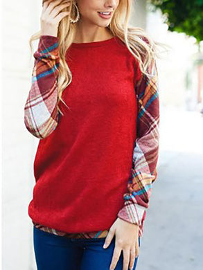 Crew Neck  Cutout Lightweight Patchwork  Contrast Stitching  Plaid Sweatshirts