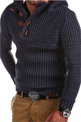 Horn Buckle Knit Hooded Sweater