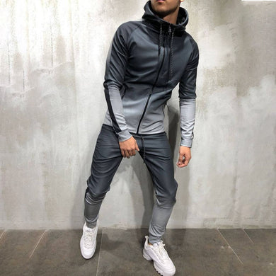 Mens Gradient Zipper Suit 4 Colors