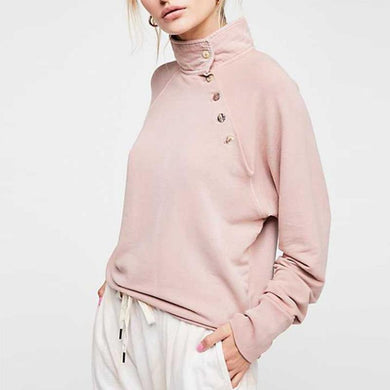 Turtle Neck Button Long Sleeve Plain Fashion Sweatshirts