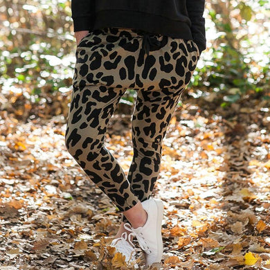 Casual Elastic Waist Leopard Printed Fitting Pants