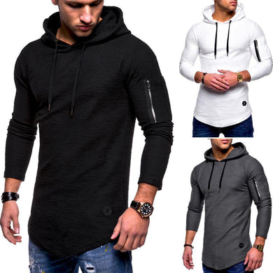 Casual Fashion Long Sleeves Plain Slim Round Collar Hoodie