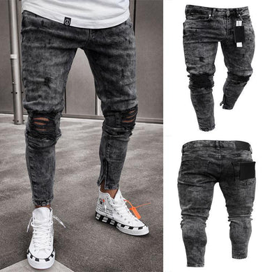 Men's Hole-Breaking Denim Pants