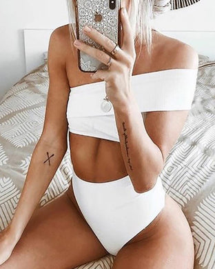 One Shoulder  Cutout Patchwork  Plain Bikini
