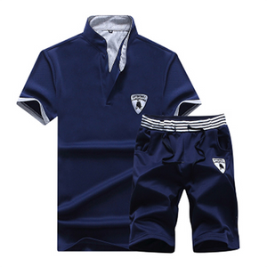 Men's Solid Color POLO Casual Sports Set