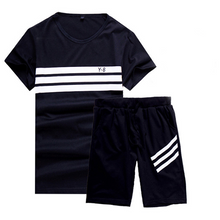 Load image into Gallery viewer, Round Neck Breathable Striped Sports Suit