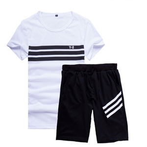 Round Neck Breathable Striped Sports Suit