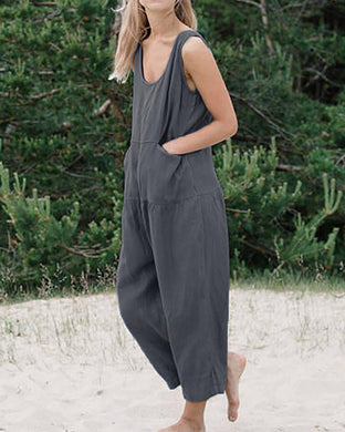 Cutout Patch Pocket  Plain Jumpsuits