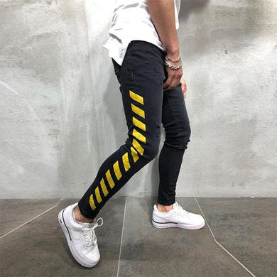 Men's Hip Hop Speed Belt Printed Jeans