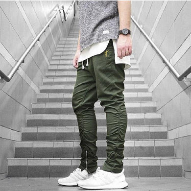 Men's High Street Trend Slim Zipper Pants