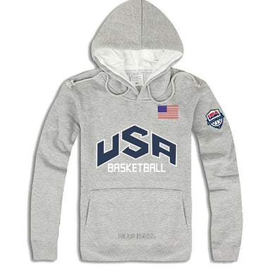 Men's Solid Color USA Print Sports Hoodie